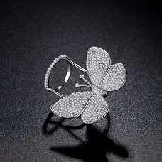Регулируемое белое кольцо бабочка