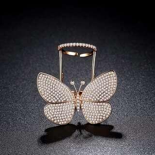 Регулируемое кольцо бабочка в розовой позолоте
