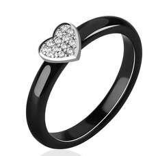 Чёрное керамическое кольцо с сердцем