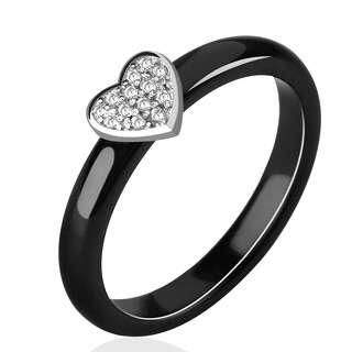 Чорна керамічна каблучка з серцем
