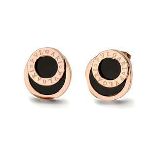 Сережки Bvlgari в рожевій позолоті з чорним агатом