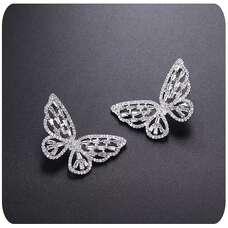 Белые серьги большие бабочки
