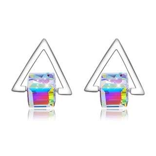 Серебряные серьги треугольники с кубиками Сваровски