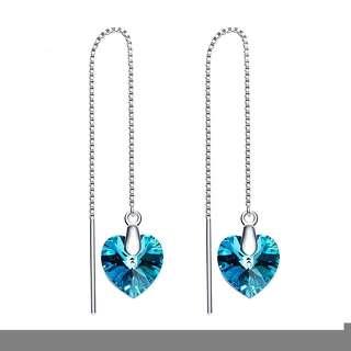 Серебряные серьги-протяжки с подвеской сердце