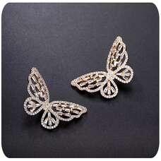 Золотые серьги Большие бабочки