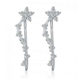 Серебряные серьги вдоль мочки уха с кристаллами