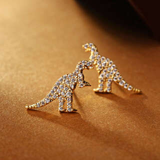 Серьги гвоздики золотые динозавры