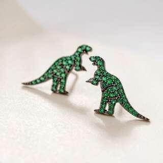 Серьги гвоздики в виде зеленых динозавров