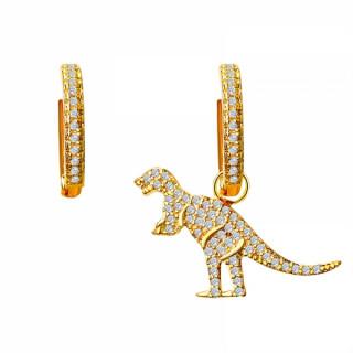 Асиметричні сережки кільця з підвіскою золотий динозавр