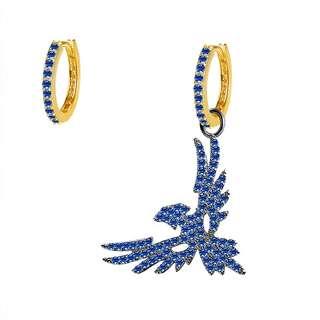 Серьги кольца с подвеской синий орел