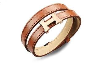 Коричневый кожаный браслет Hermes