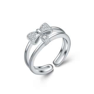 Открытое серебряное кольцо с бантиком