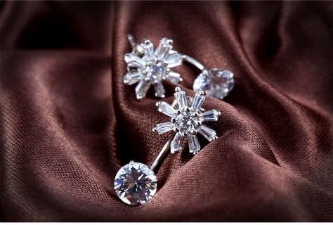 Серебряные кристальные серьги джекеты цветок