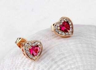 Позолоченные серьги с розовым сердцем Swarovski