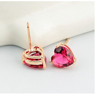 Серьги розовые сердечки Swarovski
