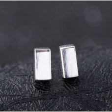 Прямоугольные серебряные серьги