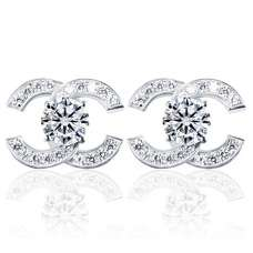 Срібні сережки Chanel з цирконами