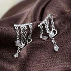 Серебряные серьги с подвескамми в родиевом покрытии