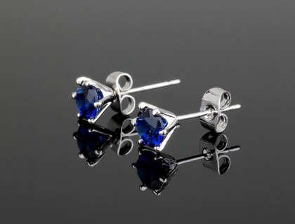 Серьги гвоздики с синим круглым Swarovski