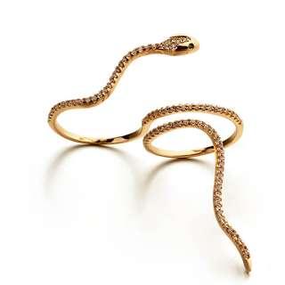 Кольцо змея на два пальца