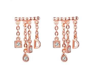 Позолоченные серебряные серьги  Dior by Dior