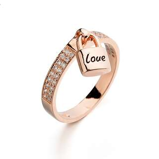 Кольцо с замочком Love и камнями Swarovski