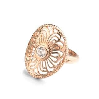 Позолоченное кольцо с узором и Swarovski