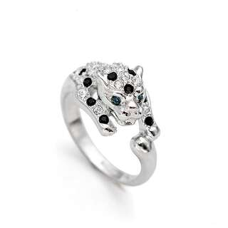 Кольцо белый леопард с кристаллами Swarovski