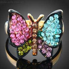 Кольцо Бабочка с разноцветными Сваровски