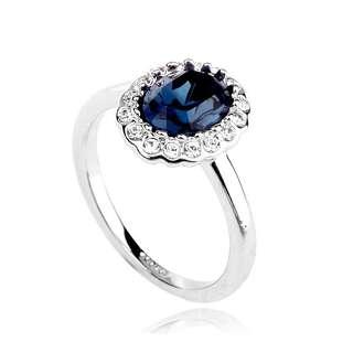 Кольцо с синим овальным камнем Сваровски