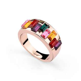 Кольцо с разноцветными кристаллами Swarovski