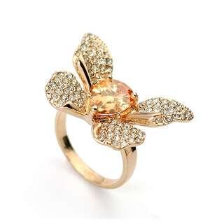 Кольцо большая бабочка с Swarovski