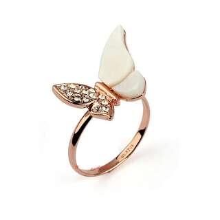 Позолоченное кольцо Бабочка с перламутровыми крыльями