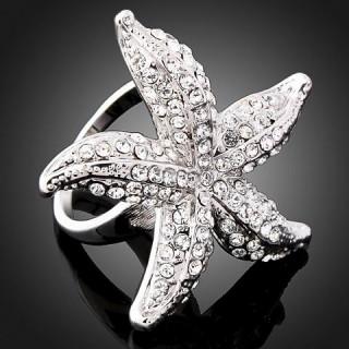 Кольцо Морская звезда с Swarovski