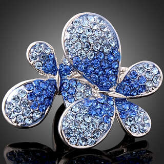 Огромное кольцо голубые бабочки Swarovski