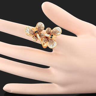Кольцо бабочки с Swarovski