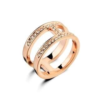 Позолоченное кольцо Hermes на две стороны