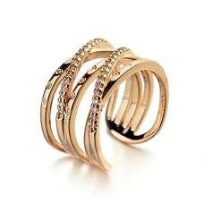 Открытое позолоченное кольцо плетение
