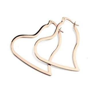 Позолоченные серьги-кольца сердца