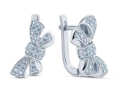 Серебряные серьги бант Tiffany