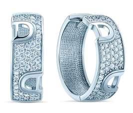Серебряные серьги кольца DAMIANI