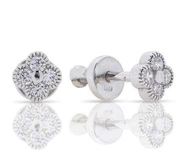 Маленькие серебряные серьги гвоздики Van Cleef