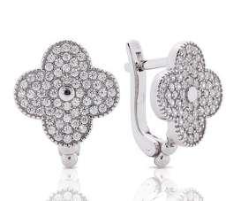 Серебряные серьги в стиле Van Cleaf