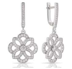 Довгі срібні сережки велика квітка