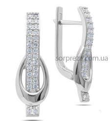 Срібні великі сережки із цирконами