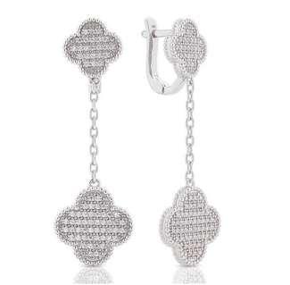Довгі срібні сережки Van Cleef