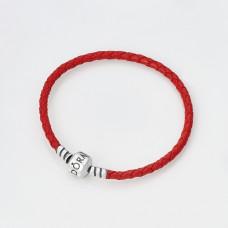 Серебряный браслет Pandora с красной кожей
