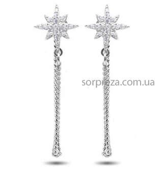 Серебряные серьги звезды с цепочками