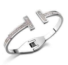 Открытый браслет Tiffany T в белой позолоте