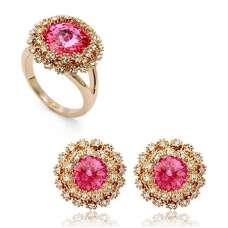 Комплект із рожевим камінням Swarovski